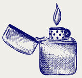 Flaming lighter. Doodle style. Scratch Royalty Free Stock Image