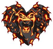 Flaming lion head in the form of heart. Frightening lion head with the open mouth, installing horror ready for a tattoo, graphics on the vehicle, also for labels Royalty Free Stock Photography