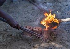 Flaming liquid metals. Stock Images