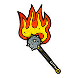 Flaming mace weapon cartoon Stock Image