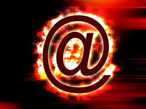 Flaming mail. Email internet online mail email speed explosion fire flame flaming mailbomb internet attack virus attatchment address website web isp service Royalty Free Stock Photography