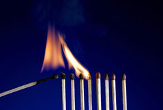 Flaming Matchstick Stock Photography