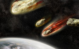 Flaming meteorites Royalty Free Stock Images