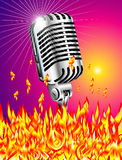 Flaming microphone Royalty Free Stock Image