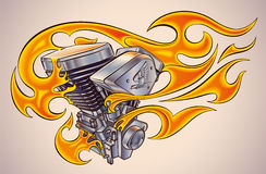 Flaming motor. Old-school styled tattoo of a flaming motorcycle engine. Editable vector illustration Stock Photos