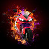Flaming motorcycle Stock Photo