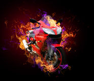 Flaming Motorcycle. Red motorcycle surrounded by flames Stock Image