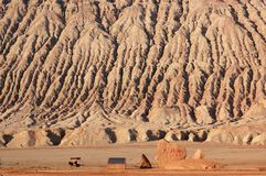 Flaming Mountain in Turpan. The Flaming Mountain is located on the northern verge of Turpan Basin, more than 10 kilometers away from Turpan city. It is the royalty free stock photos