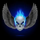Flaming mutant skull. Mutant skull with long fangs, blue flame and black wings Stock Photos