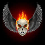 Flaming mutant skull. Mutant skull with orange flame and black wings Stock Image