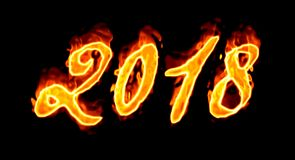 2018 Flaming Number On Black Royalty Free Stock Images