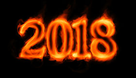 2018 flaming number on black Royalty Free Stock Photos