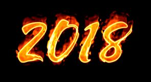 Flaming Number On Black New Year 2018/. Happy New Year 2018 with flaming fire burn and the black background isolated Stock Photography