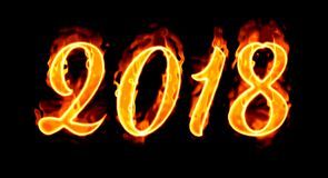 Flaming Number On Black New Year 2018/. Happy New Year 2018 with flaming fire burn and the black background isolated Stock Image