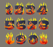 Flaming numbers set. Vector cartoon icons set of Flaming Numbers Royalty Free Stock Images