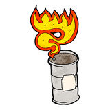 flaming oil drum cartoon Stock Photography
