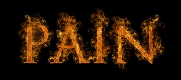 Flaming Pain Text. The Word Pain In Flaming Hot Text Stock Photos