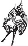 Flaming pegasus horse tribal tattoo. Flaming pegasus horse. Black and white  tribal tattoo style vector illustration Royalty Free Stock Photography