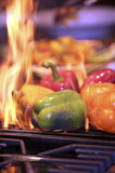 Flaming Peppers stock image