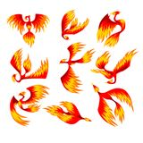 Flaming phoenix bird set, fairy tale character from Slavic folklore vector Illustrations on a white background Stock Illustration
