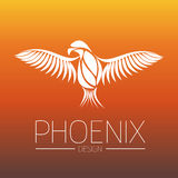 Flaming Phoenix Bird with wide spread wings in white on orange fire colors background. Symbol of reborn and regeneration Stock Photos