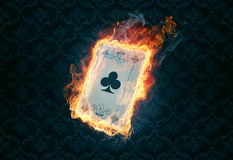 Flaming poker card. On a dark background vector illustration