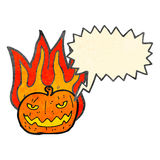 Flaming pumpkin retro cartoon Stock Photo