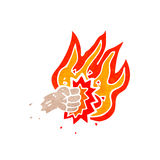 Flaming punch symbol retro cartoon. Retro cartoon with texture. Isolated on White Royalty Free Stock Photography