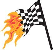 FLAMING RACING FLAG Royalty Free Stock Photo