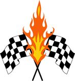 FLAMING RACING FLAGS Stock Images