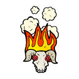 Flaming ram skull cartoon Stock Photos