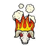 Flaming ram skull cartoon. Retro cartoon with texture. Isolated on White Stock Photos
