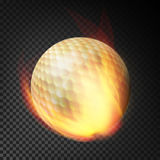 Flaming Realistic Golf Ball On Fire Flying Through The Air. Burning Ball On Transparent Background Stock Images