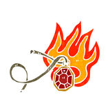 Flaming red ruby retro cartoon Royalty Free Stock Photos