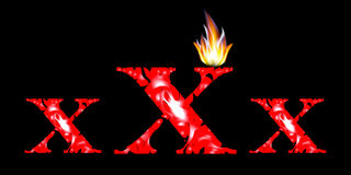 Flaming red xxx text on a black background. Stock Images