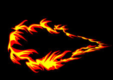 Flaming ring. On a black background Stock Images