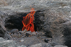 Flaming rock Yanartas  Mount Chimera. Antalya, Turkey. Stock Images