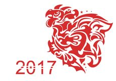 Flaming rooster symbol. 2017 - year of a red rooster Stock Photography