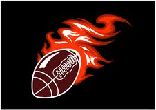 Flaming rugby ball Stock Photo