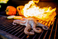 Flaming Seafood Royalty Free Stock Photography