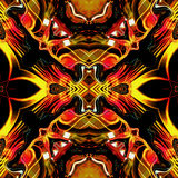 Flaming seamless infernal pattern with fire, flames and rays. Red, white, orange and yellow glowing seamless pattern on a black background Stock Images