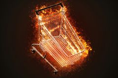 Flaming shopping cart. Business concept. 3D illustration Royalty Free Stock Photos