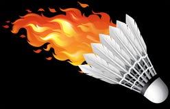 Flaming shuttlecock on black Royalty Free Stock Photos