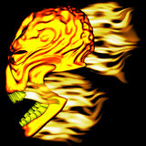 Flaming Skull 1. A fire textured skull with flames streaming off the back Stock Image