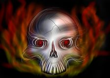 Flaming skull royalty free stock photos