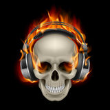 Flaming Skull. Cool Illustration of Flaming Skull Wearing Headphones Royalty Free Stock Photo