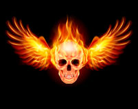 Flaming Skull. With Fire Wings. Illustration on black Stock Photos