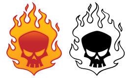 Flaming Skull. Vector illustration. Cool tattoo or logo design vector illustration