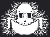 Flaming skull b&w Stock Photography