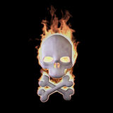 Flaming Skull. Burning skull isolated on Black (Rendering in the Three-dimensional Design Program Royalty Free Stock Images